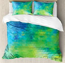 Ambesonne Green and Blue Duvet Cover Set Queen Size, Geometr