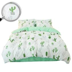XUKEJU Green Cactus Printed 3 Pieces 100% Cotton Quilt/Duvet