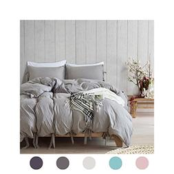 Moreover 3 Pieces Grey Bedding Light Grey Duvet Cover Set Bo