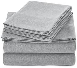 AmazonBasics Heather Jersey Sheet Set - Full, Light Gray