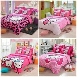Hello Kitty Cartoon Kids Bedding Sets Duvet Cover Bed Sheet