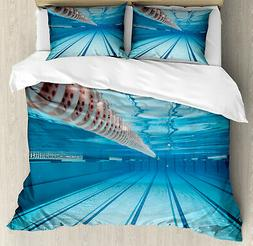 Hobby Duvet Cover Set with Pillow Shams Swimming Pool Sports