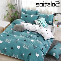 Solstice Home Textile Cyan Cute Cat Kitty <font><b>Duvet</b>