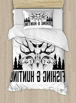 Ambesonne Hunting Duvet Cover Set Twin Size, Hunting and Fis