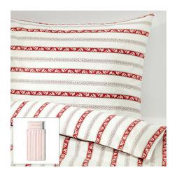 IKEA Duvet Quilt Cover set White Red Striped Cotton Parlhyac