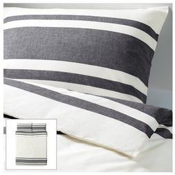 Ikea Bjornloka 3pc Full/Queen Duvet Cover Set, Black, White,