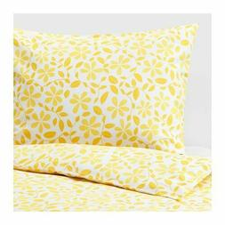 IKEA JUVELBLOMMA Duvet cover and pillowcase, white, yellow -
