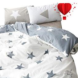 BuLuTu Five-Pointed Stars Kids Duvet Cover Set Twin Grey Whi