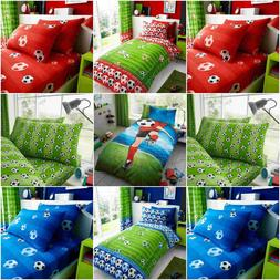 Kids Boys Football / Goal Red / Blue Duvet Cover Sets + Pill