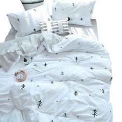 BuLuTu Kids Duvet Cover Full Cotton White/Grey,Premium Boys