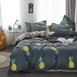 Uozzi Bedding Kids Pineapple 3 Pieces Queen Duvet Cover Set