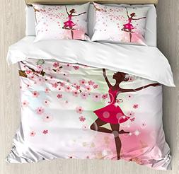 Kids Room Queen Size Duvet Cover Set by Ambesonne, Ballet Bu