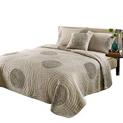 mixinni King Size Quilt Set King Taupe with Shams Oversized