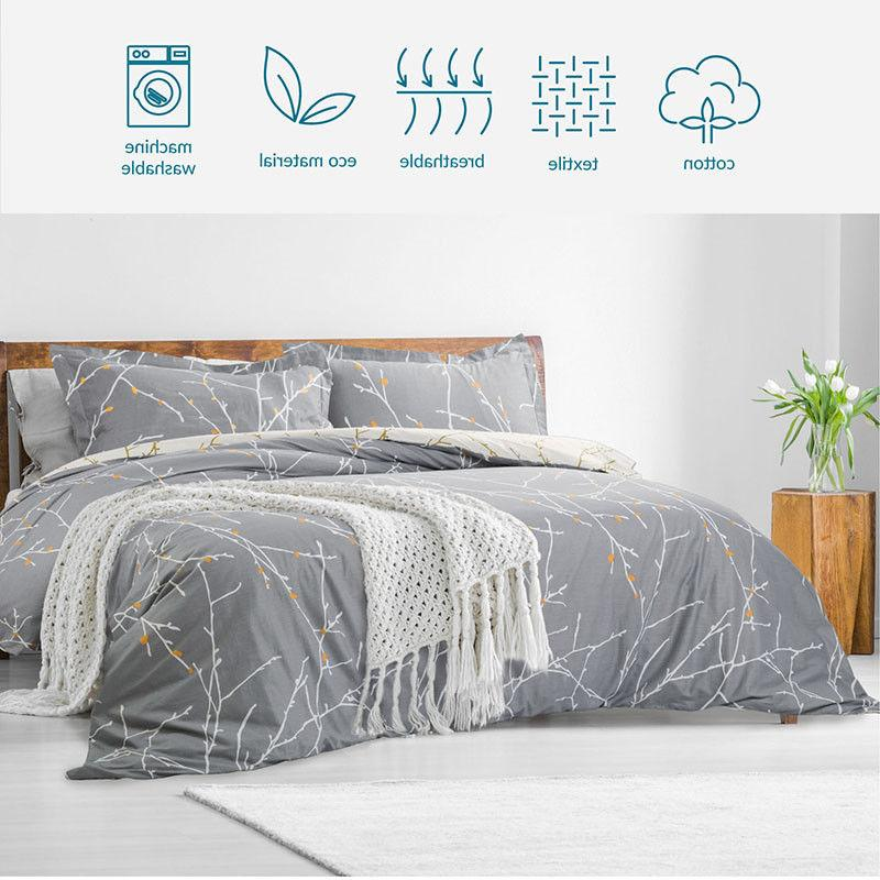 Bedsure 100% Cotton Cover Reversible Comforter Bedding Sets