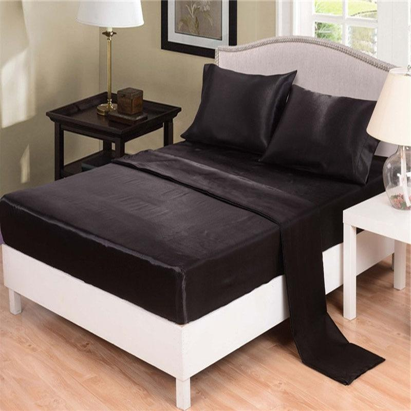 Juwenin Sheet Pillow Cases Full King Set Deep Black15