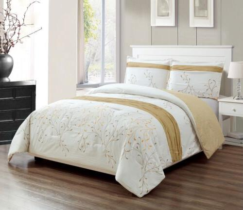 3 piece ivory gold embroidered branches duvet