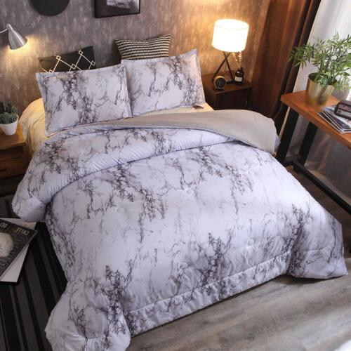 3 Pieces / Marble Microfiber King