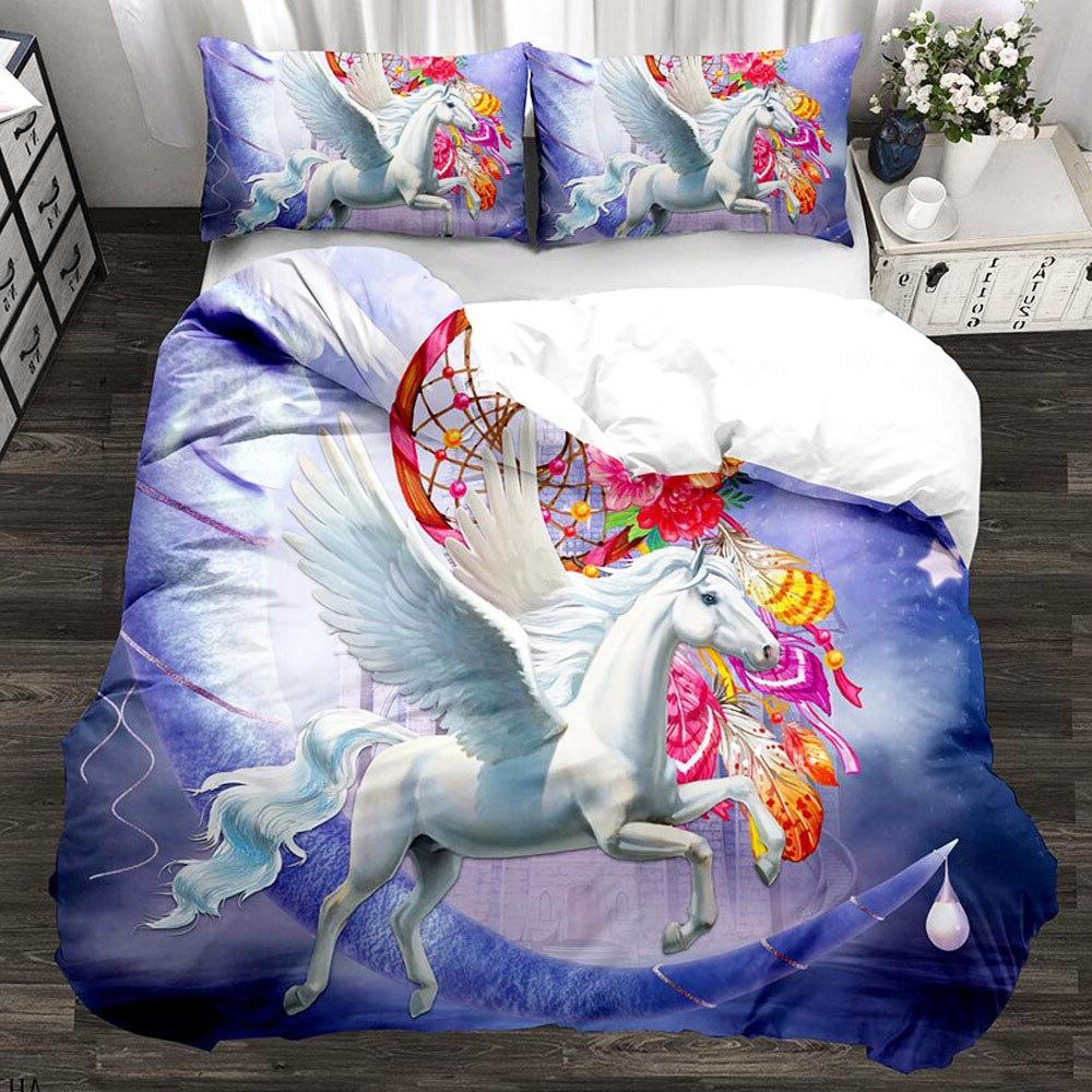 3D Unicorn Bedding <font><b>Set</b></font> Floral <font><b>Duvet</b></font> 3pcs Ship