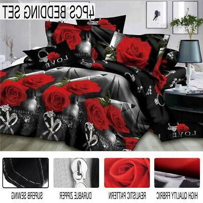 3D Bedding Set Quilt Cover Bed Sheet Pillowcases