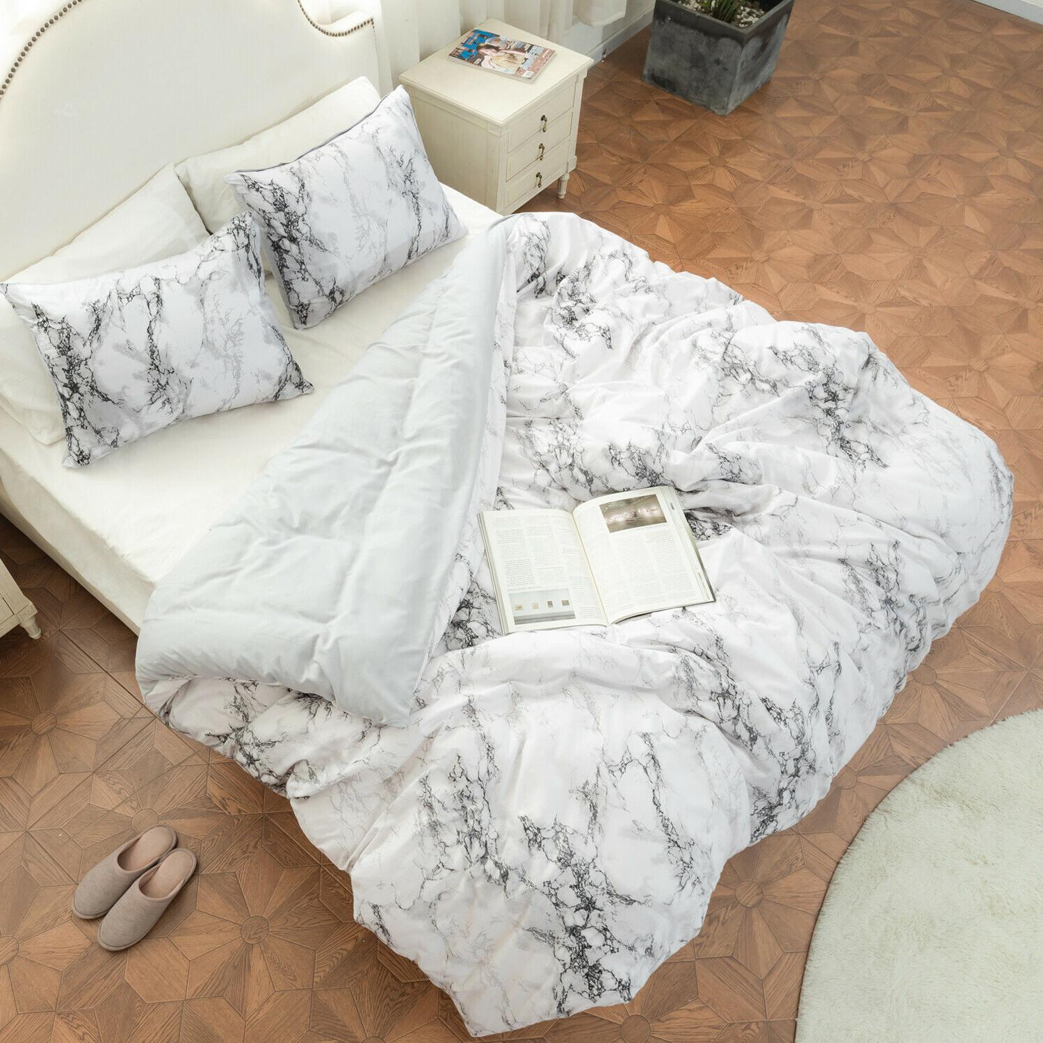 3pc Marble Printed Duvet Cover Bedding