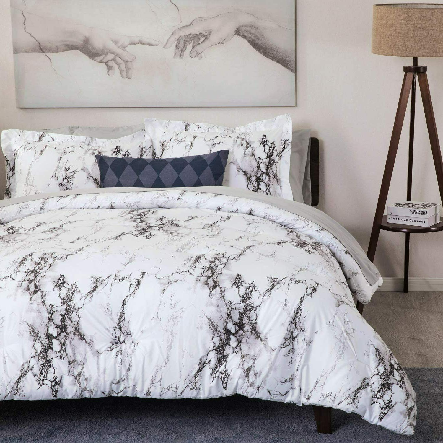 3pc white marble printed duvet cover set