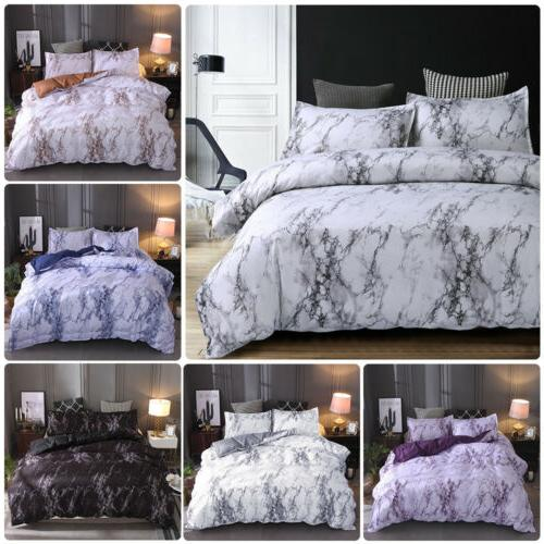 3pcs marble printed duvet cover set brushed
