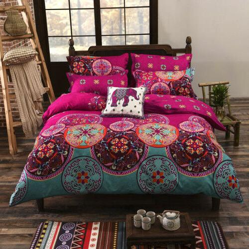 4 Piece Cotton Reactive Print Cotton Duvet Cover Sets Floral