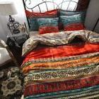 HNNSI 4 Pieces Bohemia Duvet Cover Fitted Sheet Set Twin Siz