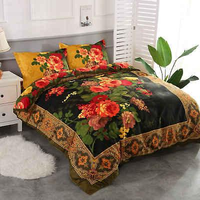 4 Pieces Duvet Cover Set Retro Luxury Bedding Set 1 Bed Shee