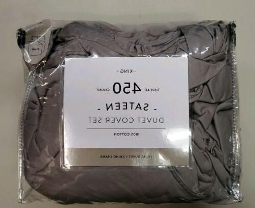 450-Thread-Count Duvet Cover Grey