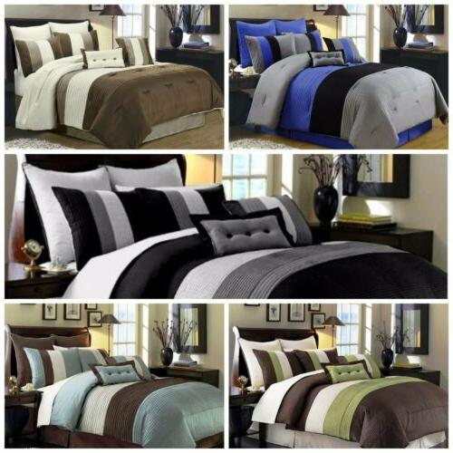 8 piece luxury pintuck pleated stripe duvet