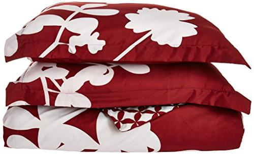 Chic Home Piece Calla Scale Design with Diamond Pattern Reverse Duvet Set, Red