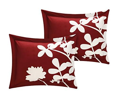 Chic 3 Calla Scale with Pattern Duvet Queen, Red