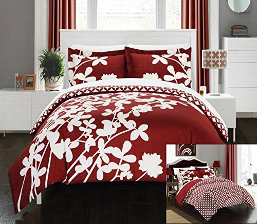 Chic Home Piece Calla Lily Scale Floral with Duvet Queen, Red