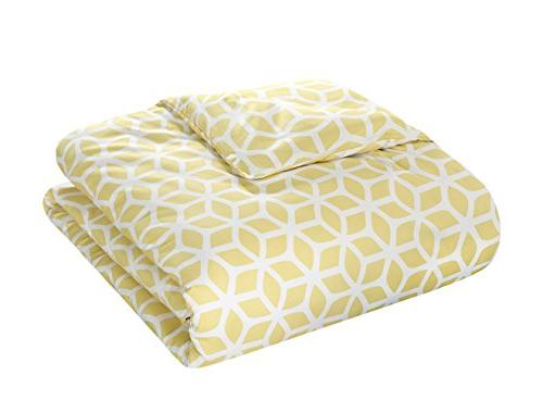 Chic Home Elizabeth Geometric Diamond Reversible Cover Queen, Yellow