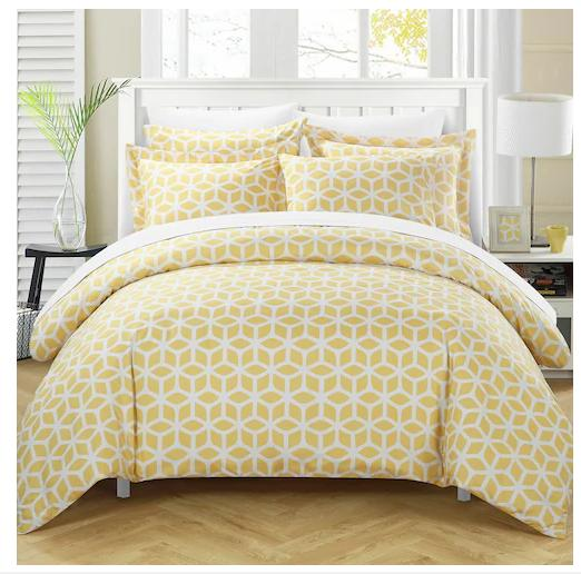Chic Home 3 Piece Elizabeth Geometric Diamond Printed Revers