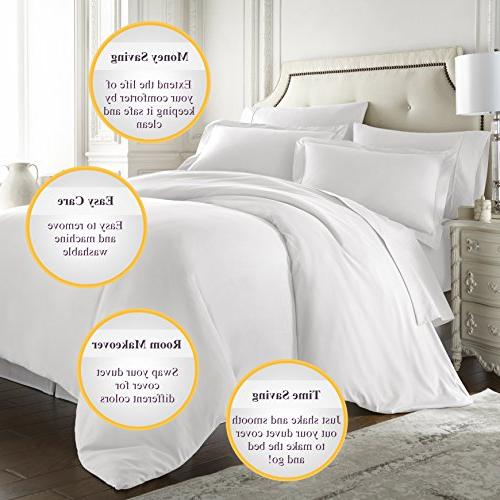 Hotel Luxury Duvet Cover Thread Count Egyptian Quality Soft Top Quality Premium Bedding -Queen White