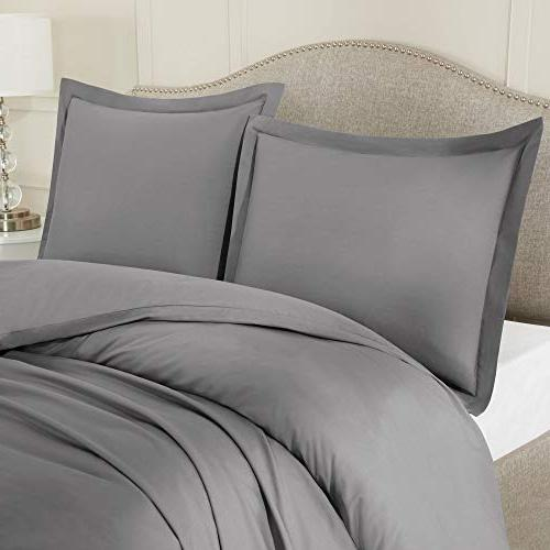 Nestl Duvet 3 Piece – Ultra Soft Microfiber Collection – Comforter Closure Pillow Shams, Gray Queen