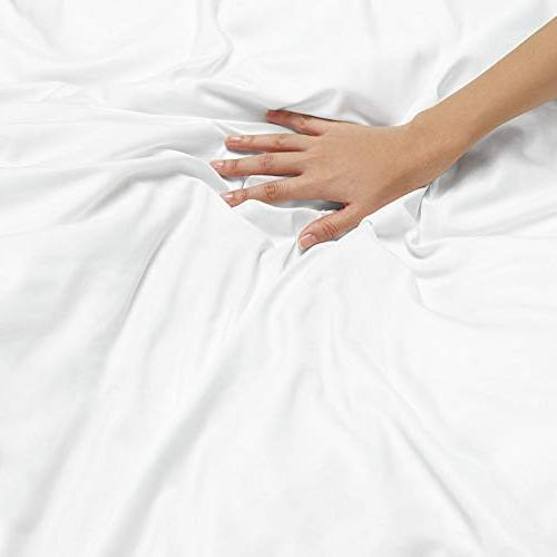 "Nestl Bedding 3 Set – Ultra Soft Double Microfiber Comforter Cover Closure and 2 Shams, White - 90""x90"""