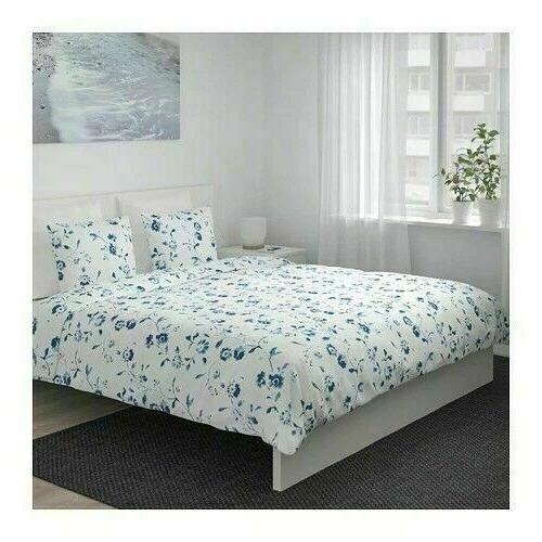 IKEA Cover and White Blue Floral