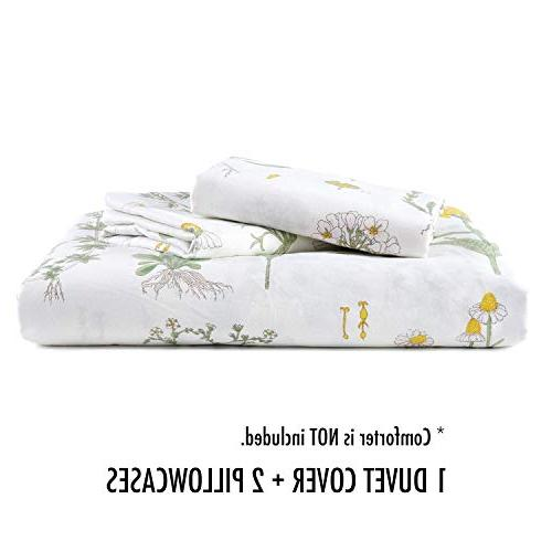 Wake - Botanical Duvet Set, 100% Bedding, Flowers Floral Garden on White