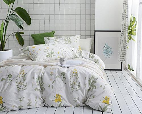 Wake In Botanical Duvet Cover Set, 100% Cotton Flowers Floral Garden on
