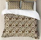 Brown Tones Duvet Cover Set Twin Queen King Sizes with Pillo