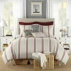 B Smith Classic Stripe TWIN DUVET COVER ~ Red Gray Beige