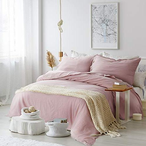 Bedsure 45% Linen Cover Queen with - Size, 3 Piece Beding Cover Sets Button Closure, Pink