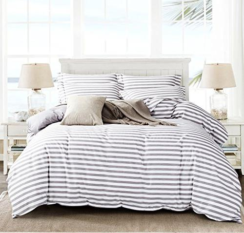 Delbou Tree Cover Set,Striped Duvet Cover,Contrast 2 Tone Reversible Comforter Cover,Zipper Quilt Cover Stripes,Queen