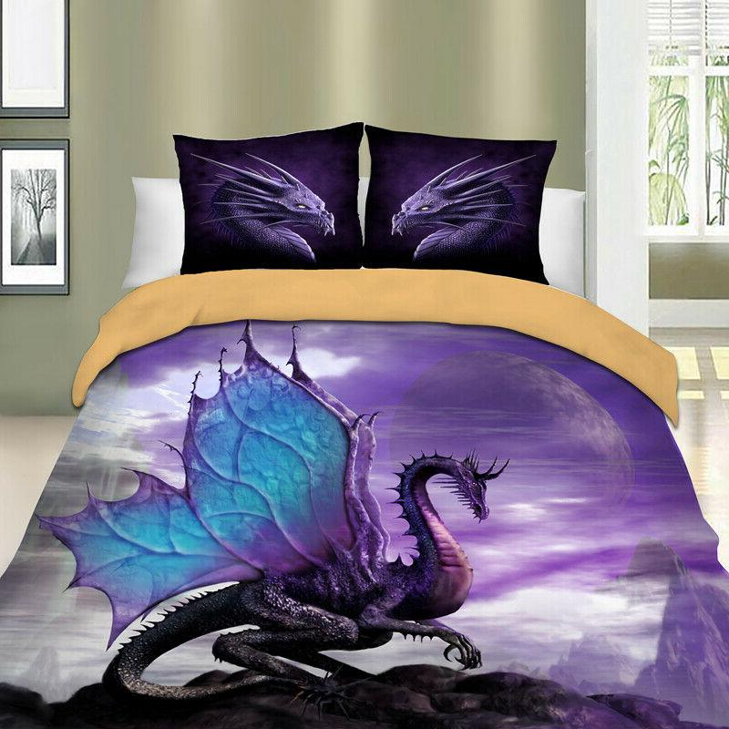 Newly Dragon Duvet Cover Set Twin/Queen Size Bedding Set Ani