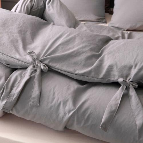 Duvet Comforter Quilt Solid Tie Pillowcase Twin Size
