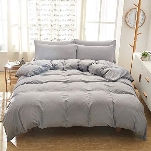BOBforyou Cover King,Stone Washed Dyed Microfiber Duvet Cover Set,Ultra Soft and Care,Simple Style Bedding