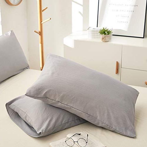 BOBforyou 3 Pieces Duvet Cover King,Stone Washed Dyed Duvet Set,Ultra